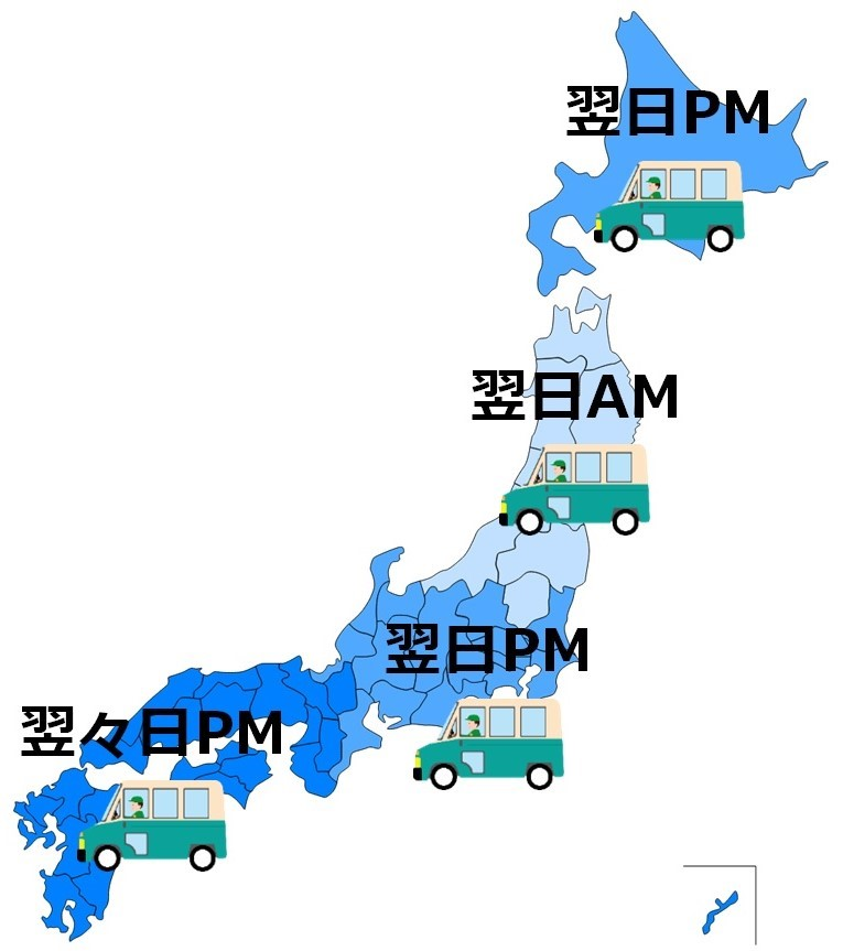 出荷日から、地域ごとの配達にかかる日数 (ご注文状況により、出荷までに時間を要す場合があります)